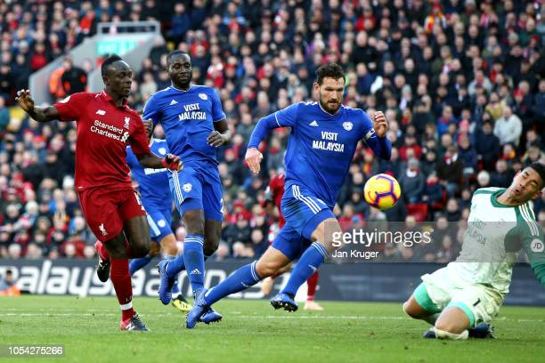 Sadio Mane of Liverpool scores his team's fourth goal during the Premier League match between Liverpool FC and Cardiff City at Anfield on October 27...