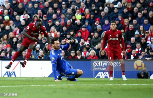 Sadio Mane of Liverpool scores his team's second goal during the Premier League match between Liverpool FC and Cardiff City at Anfield on October 27...