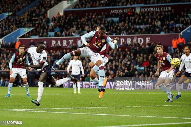 Sadio Mane of Liverpool scores his team's second goal during the Premier League match between Aston Villa and Liverpool FC at Villa Park on November...