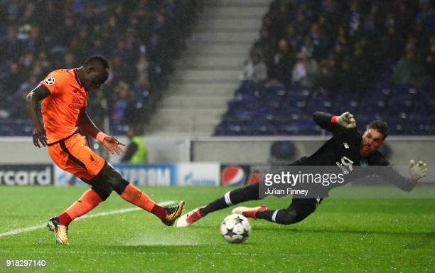 Sadio Mane of Liverpool scores the 3rd goal past Jose Sa of FC Porto during the UEFA Champions League Round of 16 First Leg match between FC Porto...