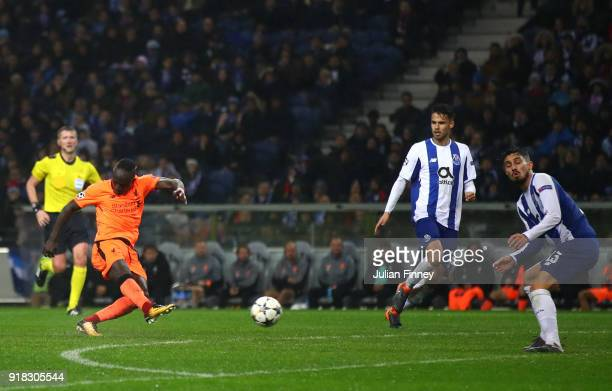 Sadio Mane of Liverpool scores the 5th goal during the UEFA Champions League Round of 16 First Leg match between FC Porto and Liverpool at Estadio do...