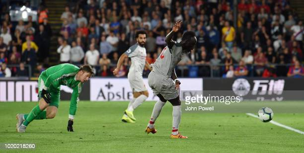 Sadio Mane of Liverpool scores the second goal during the Premier League match between Crystal Palace and Liverpool FC at Selhurst Park on August 20...