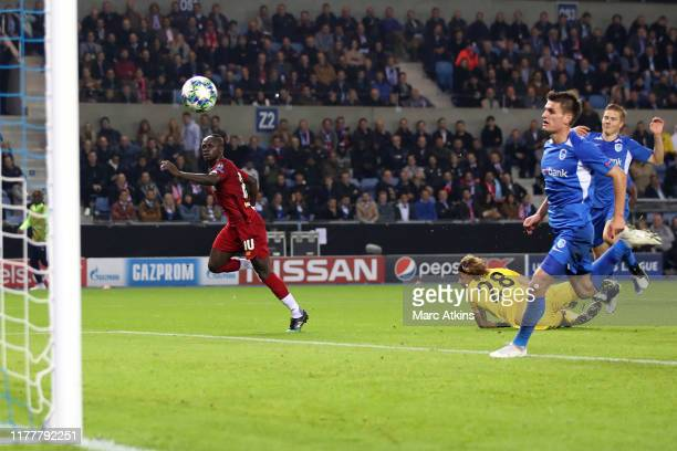 Sadio Mane of Liverpool scores their 3rd goal during the UEFA Champions League group E match between KRC Genk and Liverpool FC at Luminus Arena on...