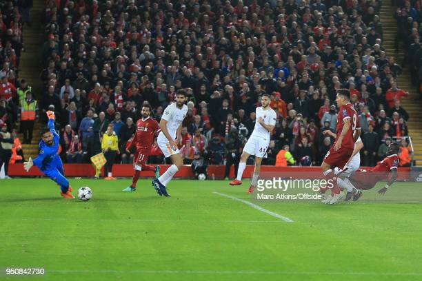 Sadio Mane of Liverpool scores their 3rd goal during the UEFA Champions League Semi Final First Leg match between Liverpool and AS Roma at Anfield on...