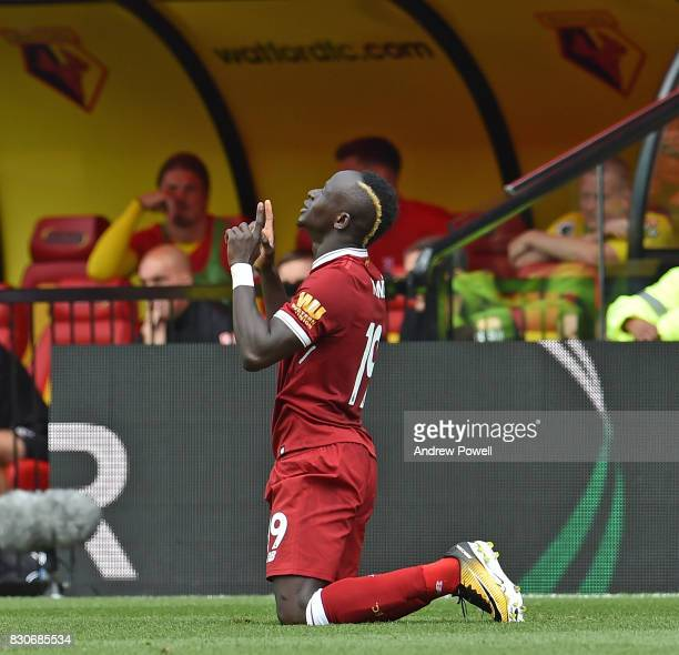 Sadio Mane of Liverpool Scores to put liverpool 1-1 and Celebrates during the Premier League match between Watford and Liverpool at Vicarage Road on...