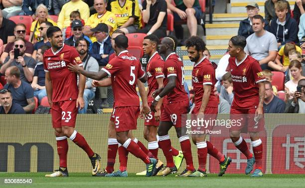 Sadio Mane of Liverpool Scores to put liverpool 11 and Celebrates during the Premier League match between Watford and Liverpool at Vicarage Road on...
