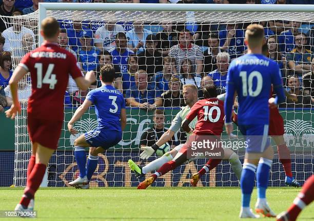 Sadio Mane of Liverpool scoring the first goal during the the Premier League match between Leicester City and Liverpool FC at The King Power Stadium...
