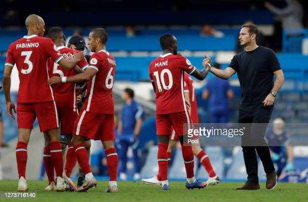 Sadio Mane of Liverpool shakes hands with Frank Lampard Manager of Chelsea following the Premier League match between Chelsea and Liverpool at...