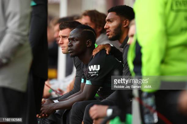 Sadio Mane of Liverpool sits on the bench alert being substituted during the Premier League match between Burnley FC and Liverpool FC at Turf Moor on...