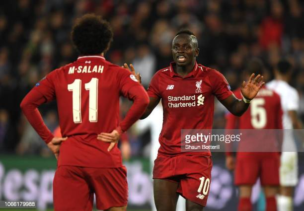 Sadio Mane of Liverpool speaks to Mohamed Salah of Liverpool during the UEFA Champions League Group C match between Paris SaintGermain and Liverpool...