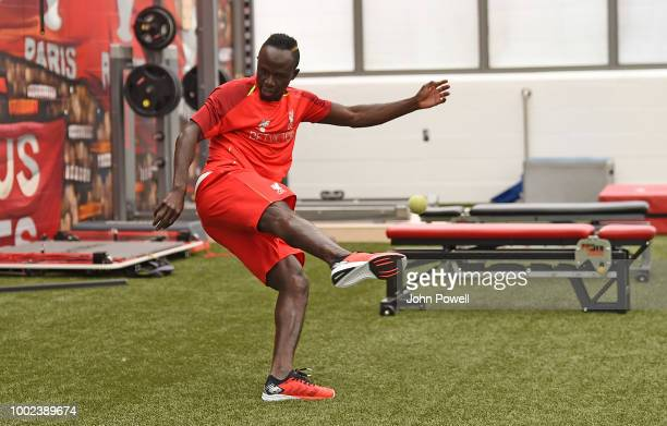 Sadio Mane of Liverpool undergoes tests during a training session on his first day back at Melwood Training Ground on July 20 2018 in Liverpool...
