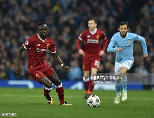 Sadio Mane of Liverpool with Bernardo Silva of Manchester City during the UEFA Champions League Quarter Final Second Leg match between Manchester...