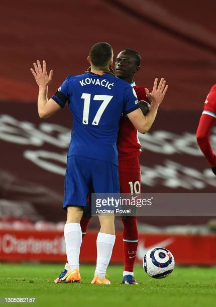 Sadio Mane of Liverpool with Chelsea's Mateo Kovacic during the Premier League match between Liverpool and Chelsea at Anfield on March 04, 2021 in...
