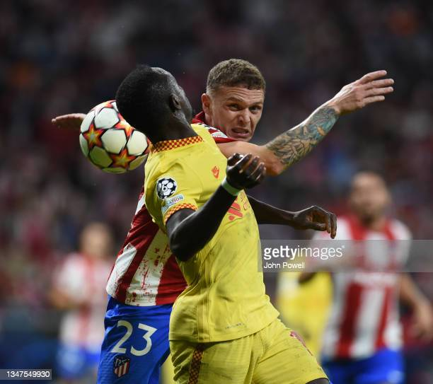 Sadio Mane of Liverpool with K,Trippier of Athletico Madrid during the UEFA Champions League group B match between Atletico Madrid and Liverpool FC...