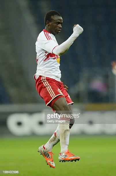 Sadio Mane of Salzburg celebrates after a goal during the tipp3 Bundesliga match between Red Bull Salzburg and SV Mattersburg at Red Bull Arena on...