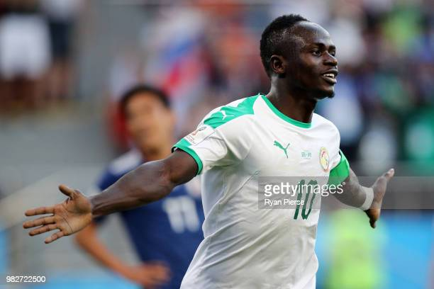 Sadio Mane of Senegal celebrates after scoring his team's first goal during the 2018 FIFA World Cup Russia group H match between Japan and Senegal at...