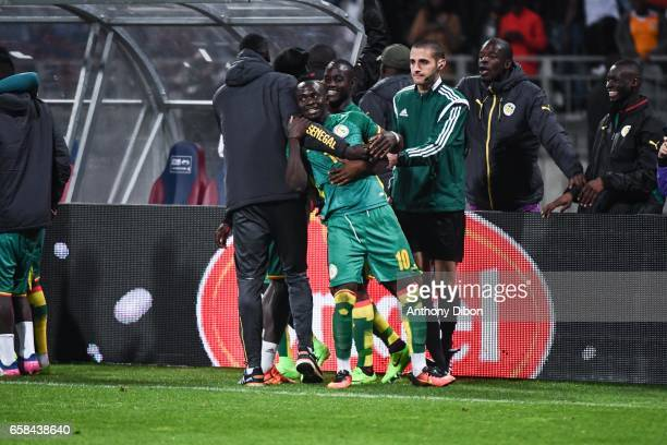 Sadio Mane of Senegal celebrates his goal during the friendly match between Senegal and Ivory Coast at Stade Charlety on March 27 2017 in Paris France