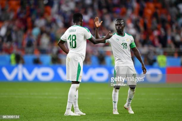 Sadio Mane of Senegal celebrates with teammate Cheikhou Kouyate following the 2018 FIFA World Cup Russia group H match between Japan and Senegal at...