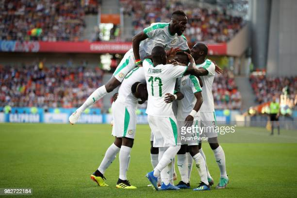 Sadio Mane of Senegal celebrates with teammates after scoring his team's first goal during the 2018 FIFA World Cup Russia group H match between Japan...