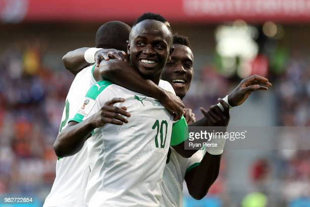 Sadio Mane of Senegal celebrates with teammtes after scoring his team's first goal during the 2018 FIFA World Cup Russia group H match between Japan...