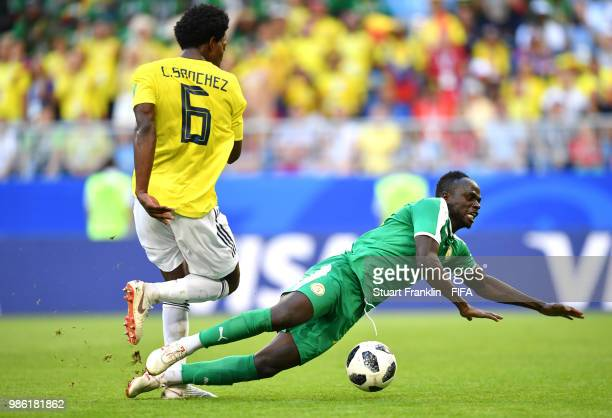Sadio Mane of Senegal is challenged by Carlos Sanchez of Colombia during the 2018 FIFA World Cup Russia group H match between Senegal and Colombia at...