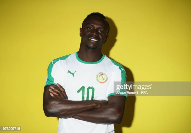 Sadio Mane of Senegal poses for a portrait during the official FIFA World Cup 2018 portrait session at the team hotel on June 13 2018 in Kaluga Russia