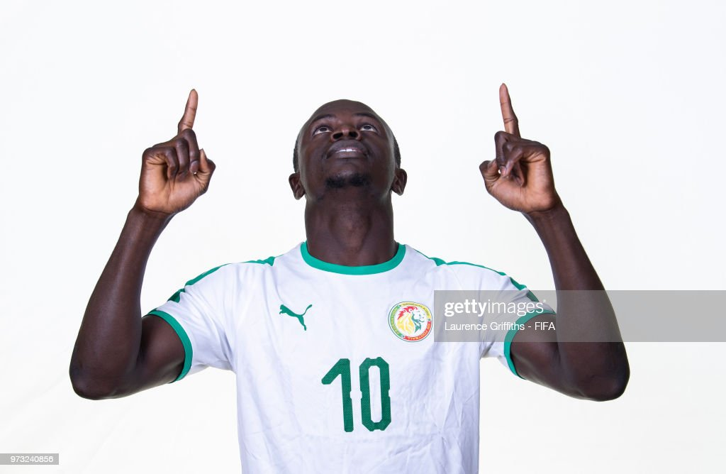 Sadio Mane of Senegal poses for a portrait during the official FIFA World Cup 2018 portrait session at the Team Hotel on June 13, 2018 in Kaluga, Russia.