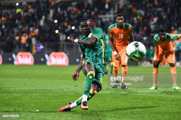 Sadio Mane of Senegal scores a goal during the friendly match between Senegal and Ivory Coast at Stade Charlety on March 27 2017 in Paris France
