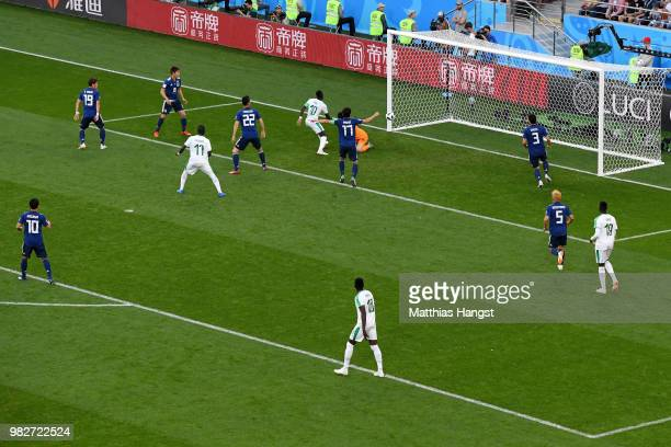 Sadio Mane of Senegal scores his team's first goal during the 2018 FIFA World Cup Russia group H match between Japan and Senegal at Ekaterinburg...
