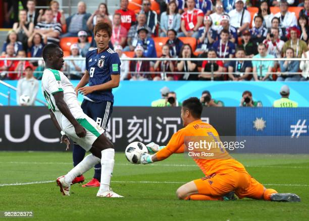 Sadio Mane of Senegal scores his team's first goal past Eiji Kawashima of Japan during the 2018 FIFA World Cup Russia group H match between Japan and...