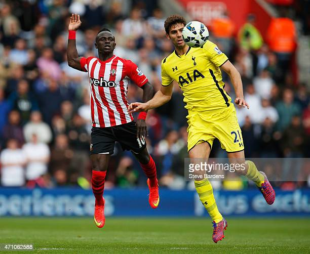 Sadio Mane of Southampton and Federico Fazio of Spurs compete for the ball during the Barclays Premier League match between Southampton and Tottenham...