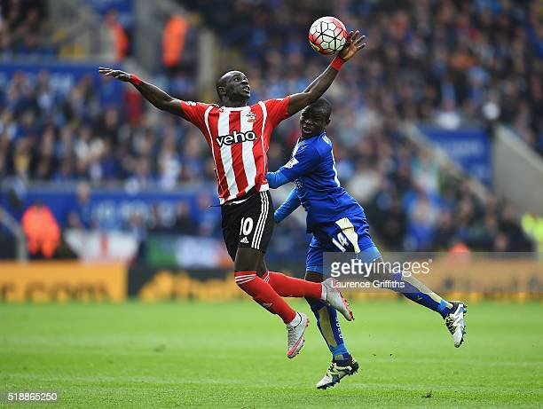 Sadio Mane of Southampton battles for the ball with Ngolo Kante of Leicester City during the Barclays Premier League match between Leicester City and...