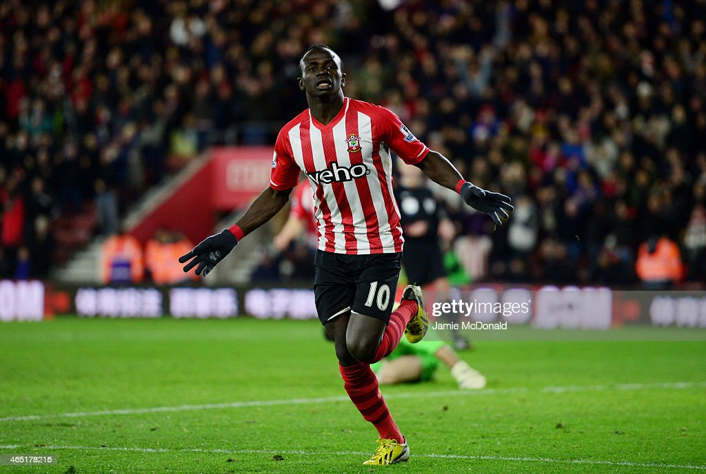 Sadio Mane of Southampton celebrates after scoring the opening goal during the Barclays Premier League match between Southampton and Crystal Palace at St Mary's Stadium on March 3, 2015 in Southampton, England.