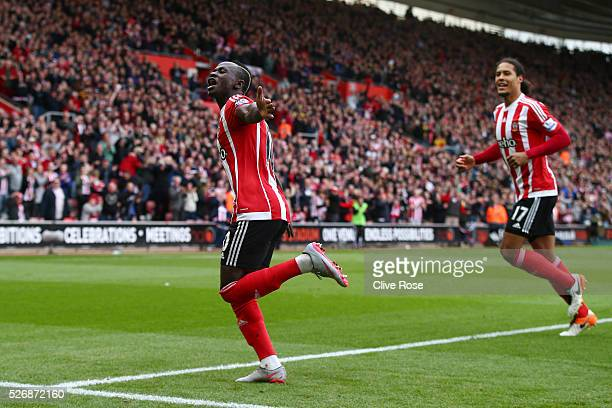 Sadio Mane of Southampton celebrates as he scores his second goal and his team's third during the Barclays Premier League match between Southampton...