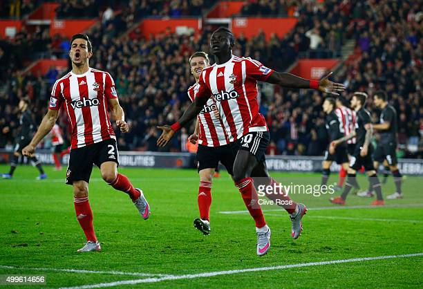 Sadio Mane of Southampton celebrates as he scores their first goal with a header during the Capital One Cup quarter final match between Southampton...