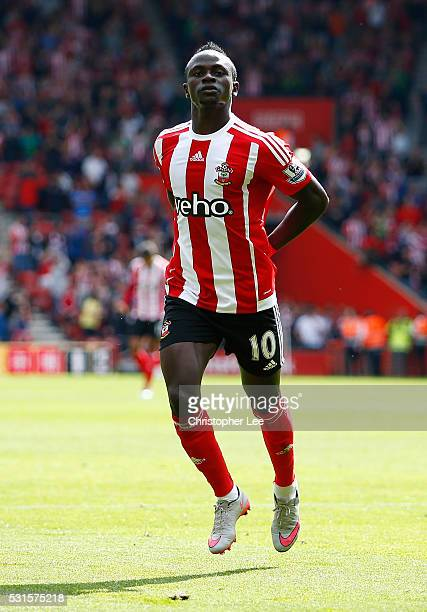 Sadio Mane of Southampton celebrates scoring his team's first goal during the Barclays Premier League match between Southampton and Crystal Palace at...
