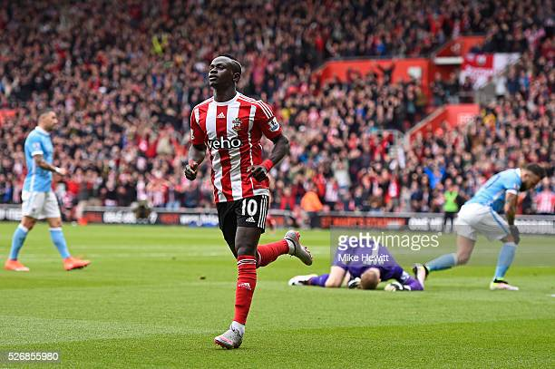 Sadio Mane of Southampton celebrates scoring his team's second goal during the Barclays Premier League match between Southampton and Manchester City...