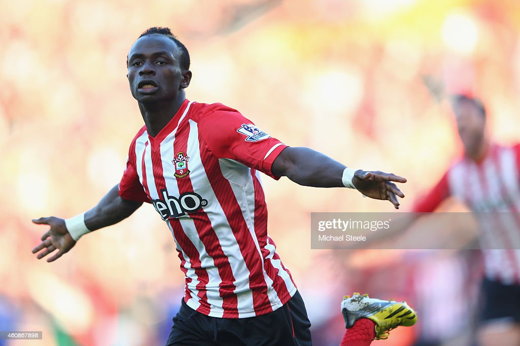 Sadio Mane of Southampton celebrates scoring the opening goal during the Barclays Premier League match between Southampton and Chelsea at St Mary's Stadium on December 28, 2014 in Southampton, England.