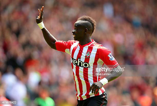 Sadio Mane of Southampton celebrates scoring the third goal and his hat trick during the Barclays Premier League match between Southampton and Aston...