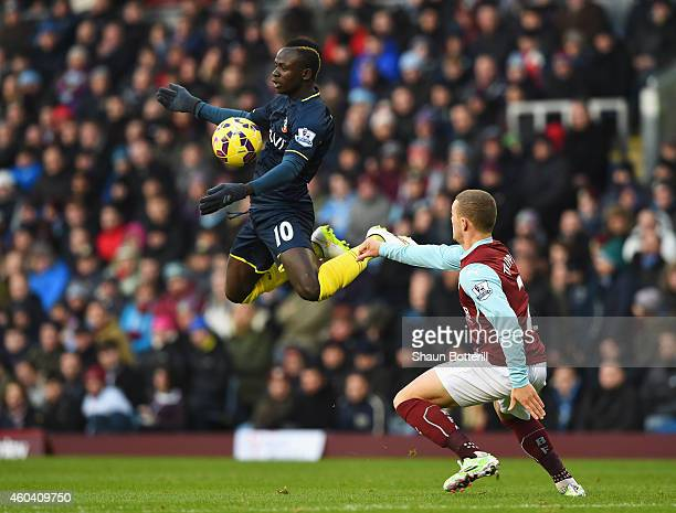 Sadio Mane of Southampton controls the ball with Kieran Trippier of Burnley during the Barclays Premier League match between Burnley and Southampton...