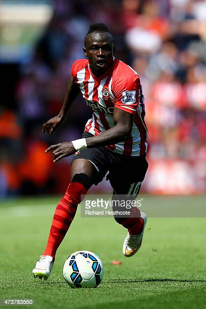 Sadio Mane of Southampton in action during the Barclays Premier League match between Southampton and Aston Villa at St Mary's Stadium on May 16 2015...