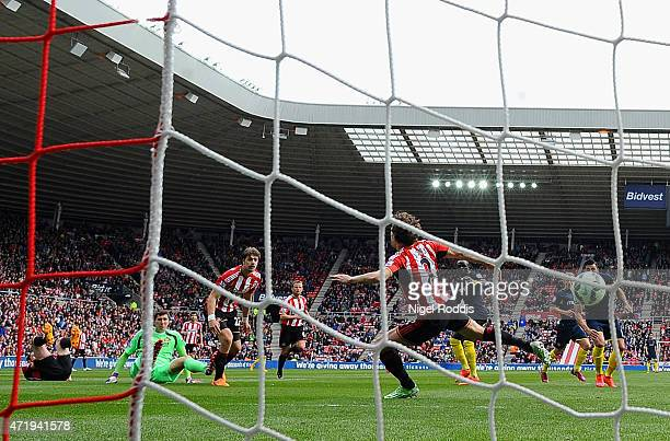 Sadio Mane of Southampton scores during the Barclays Premier League match between Sunderland and Southampton at Stadium of Light on May 2 2015 in...