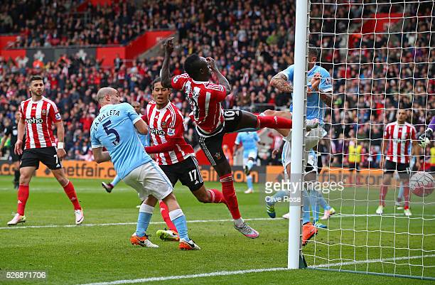Sadio Mane of Southampton scores his second goal and his team's third during the Barclays Premier League match between Southampton and Manchester...