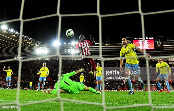 Sadio Mane of Southampton scores the opening goal during the Barclays Premier League match between Southampton and Crystal Palace at St Mary's...