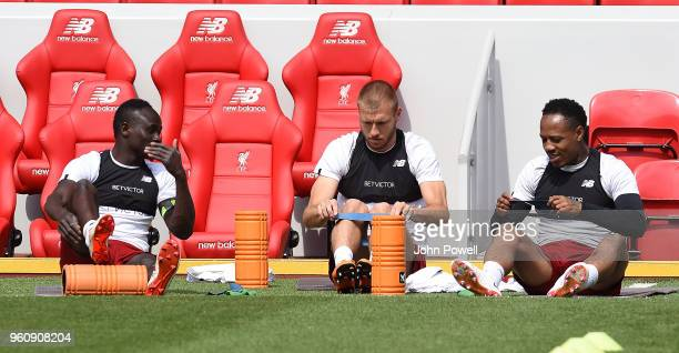 Sadio ManeRagnar KlavanNathaniel Clyne of Liverpool during the Training session at Anfield on May 21 2018 in Liverpool England
