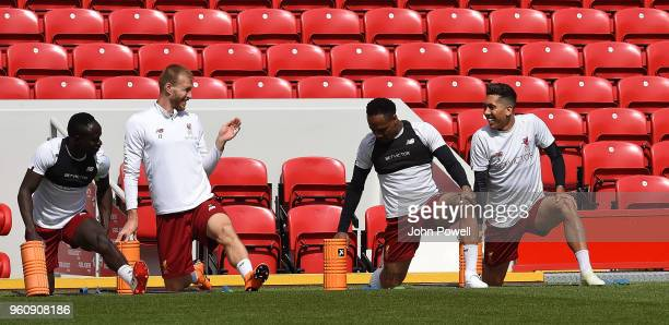 Sadio ManeRagnar KlavanNathaniel ClyneRoberto Firmino of Liverpool during the Training session at Anfield on May 21 2018 in Liverpool England