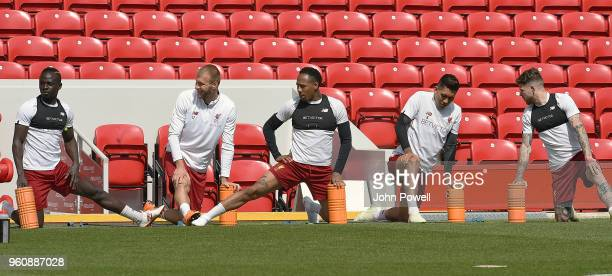 Sadio ManeRagnar KlavanNathaniel ClyneRoberto FirminoAlberto Moreno of Liverpool during the Training session at Anfield on May 21 2018 in Liverpool...