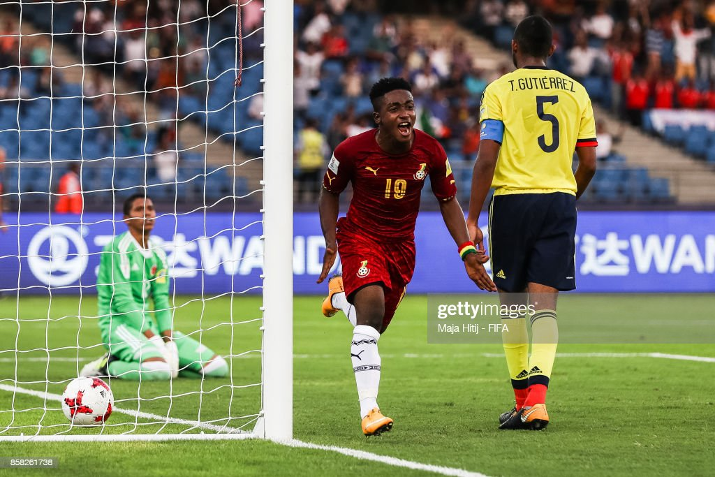 Sadiq Ibrahim of Ghana celebrates after scoring his team's first goal to make it 0-1 during the FIFA U-17 World Cup India 2017 group A match between Colombia and Ghana at Jawaharlal Nehru Stadium on October 6, 2017 in New Delhi, India.