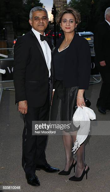 Sadiq Kahn and Saadiya Ahmed attends the Vogue 100 Gala Dinner at the East Albert Lawn in Kensington Gardens on May 23 2016 in London England