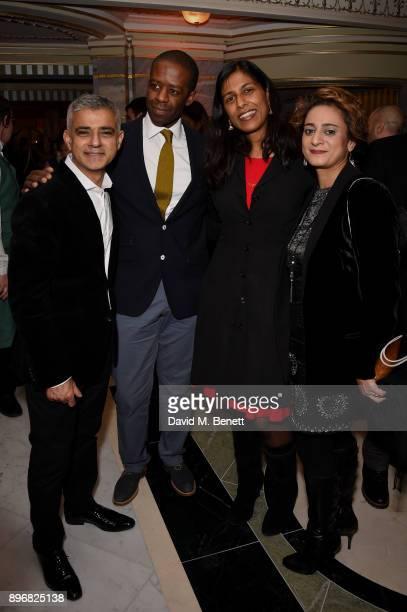 Sadiq Khan Adrian Lester Lolita Chakrabarti and Saadiya Khan attend the press night performance of Hamilton at The Victoria Palace Theatre on...